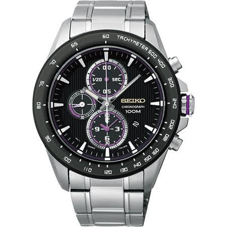 SEIKO Criteria 星際航行三眼計時腕錶-黑/43mm 7T92-0SC0D(SNDG19P1)