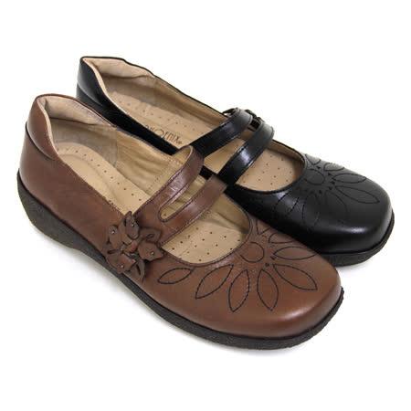 【GREEN PHOENIX】立體車線花朵沾黏式全真皮厚底瑪莉珍鞋