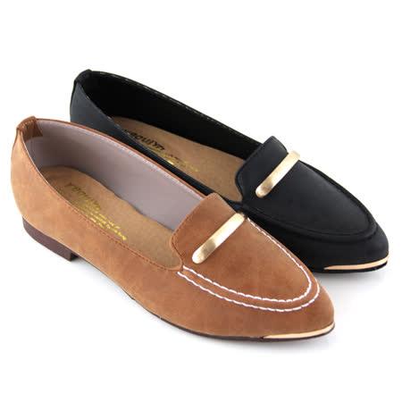 【Pretty】知性一字金屬尖頭低跟鞋