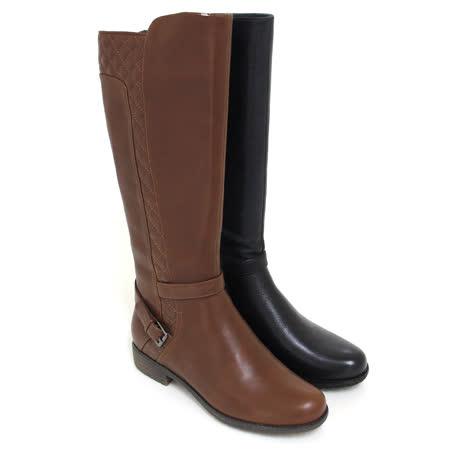 【GREEN PHOENIX】菱格紋繞踝金屬皮扣全真皮低跟長靴