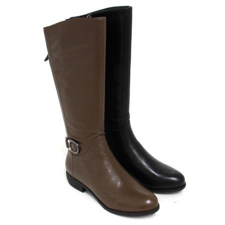 【GREEN PHOENIX】繞踝圓形金屬皮扣全真皮低跟長靴