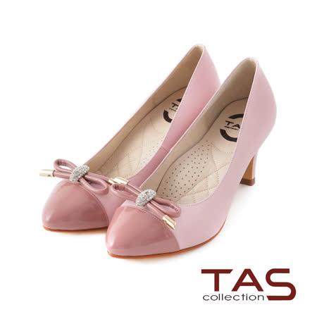 TAS 太妃Q系列 柔軟乳膠鏡面拼接水鑽蝴蝶結高跟鞋-優雅粉