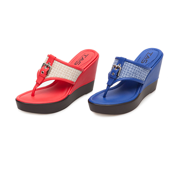 TAS T字夾腳混織格紋厚底楔型涼拖鞋-耀眼藍