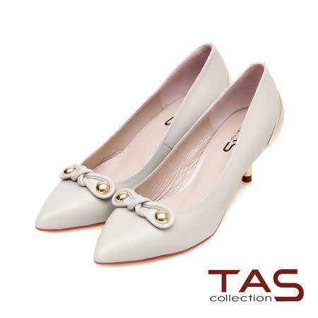 TAS 金屬圓釦扭結素面尖頭金屬後跟高跟鞋-氣質灰