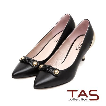TAS 金屬圓釦扭結素面尖頭金屬後跟高跟鞋-時髦黑