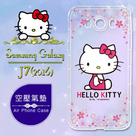 三麗鷗授權 Hello Kitty 凱蒂貓 Samsung Galaxy J7 (2016) / J710 彩繪空壓手機殼(櫻花)