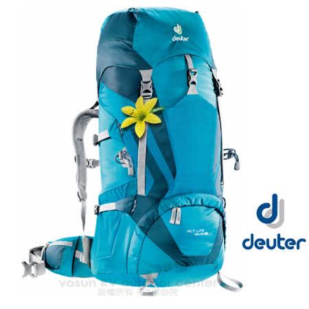 【德國 Deuter 】女款 ACT Lite 45 + 10 SL 輕量拔熱式透氣背包(Aircontact 透氣系統)/登山健行背包 _ 3340215 水藍/藍