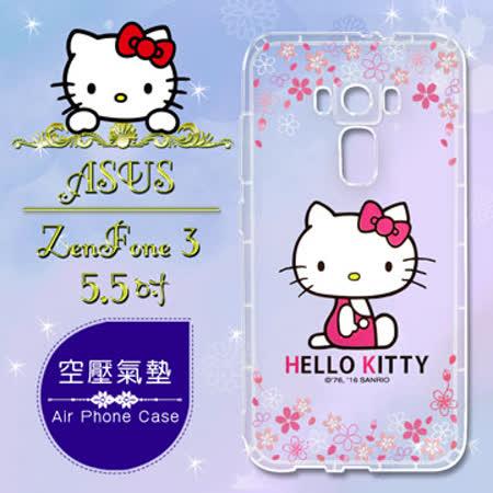 三麗鷗授權 Hello Kitty 凱蒂貓 ASUS ZenFone 3 5.5吋 ZE552KL 彩繪空壓手機殼(櫻花)