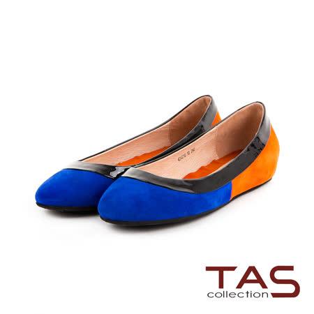 TAS 搶眼單品 韓系撞色拼接麂皮內增高娃娃鞋-亮感黑