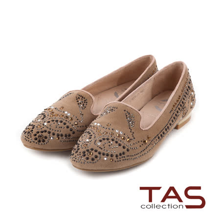 TAS 太妃Q系列 柔軟乳膠曲線圖騰水鑽樂福鞋-淺卡其
