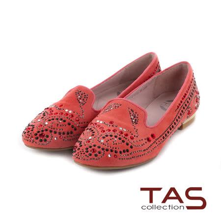 TAS 太妃Q系列 柔軟乳膠曲線圖騰水鑽樂福鞋-質感紅