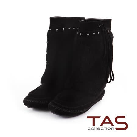 TAS 微古風潮 混搭鉚釘綁帶絨毛麂皮中筒靴-率性黑