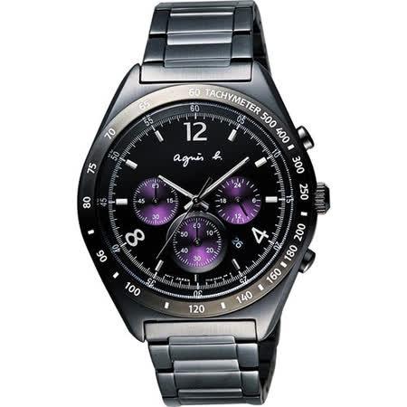 agnes b. 宇宙星馳視距儀計時腕錶-IP黑x紫/42mm 7T12-0AP0T(BW8004P1)