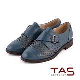 TAS 太妃Q系列 柔軟乳膠幾何鏤空造型扣帶牛津鞋-爵士藍