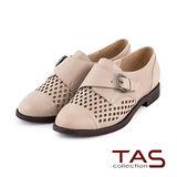 TAS 太妃Q系列 柔軟乳膠幾何鏤空造型扣帶牛津鞋-時尚米