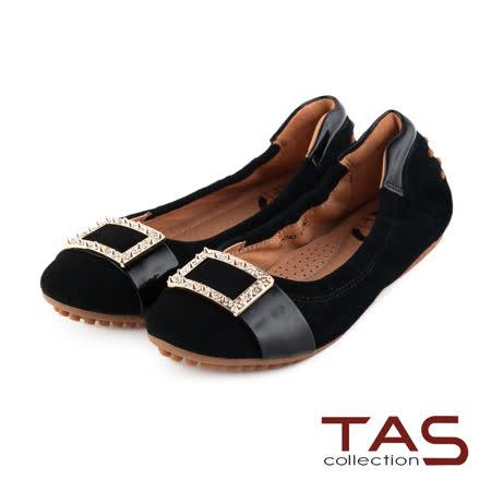 TAS 太妃Q系列 柔軟乳膠立體金屬水鑽釦飾娃娃鞋-優雅黑