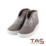 TAS 太妃Q系列 V口幾何滿鑽裝飾休閒鞋-質感灰