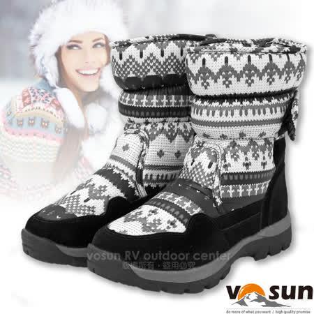 【FARBER 雪之女神】女 活力時尚中高筒黏扣式保暖雪靴.雪鞋(附冰爪+珍珠刷毛)/ FB-058 尊爵黑