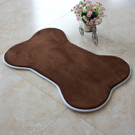 【旺寶】超強回彈優質珊瑚絨厚實狗骨頭造型地墊地毯腳踏墊(咖啡色)