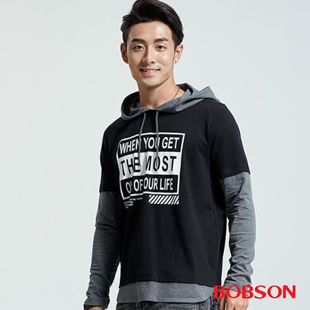 BOBSON 男款連帽仿二件印圖上衣(36016-88)