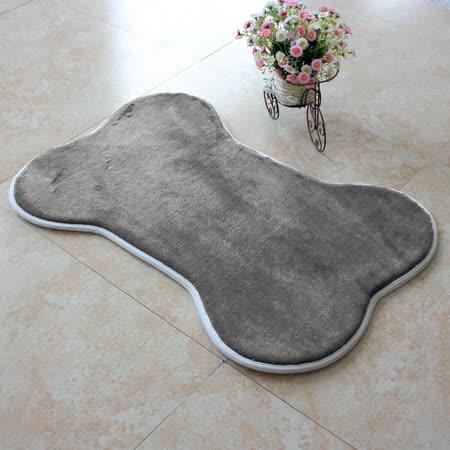 【旺寶】超強回彈優質珊瑚絨厚實狗骨頭造型地墊地毯腳踏墊(鐵灰色)