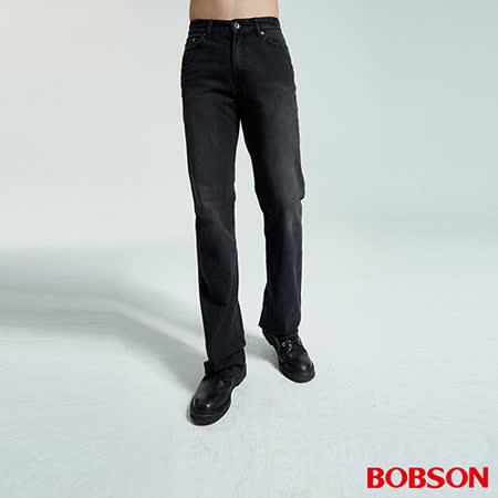 BOBSON 男款黑色刷白喇叭褲(1679-88)