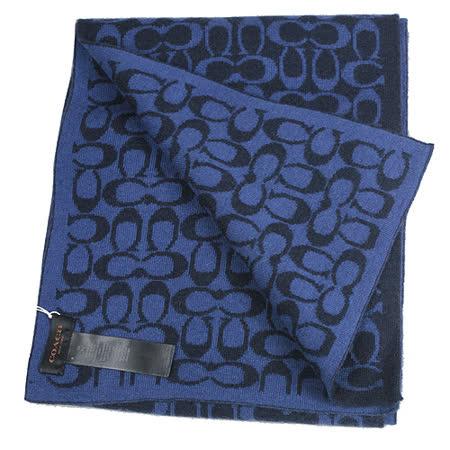 【COACH】新款經典LOGO圍巾、披肩(藍)