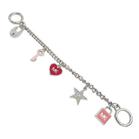 MICHAEL KORS 糖瓷愛心鑰匙鎖頭造型包包吊飾(紅/銀色)