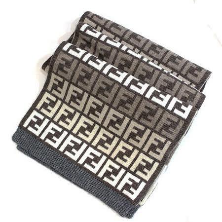 【FENDI】經典雙F緹花毛圍巾(駝色)
