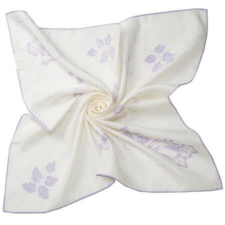 NINA RICCI 典雅紫藤白花絹絲壓紋帕巾-白