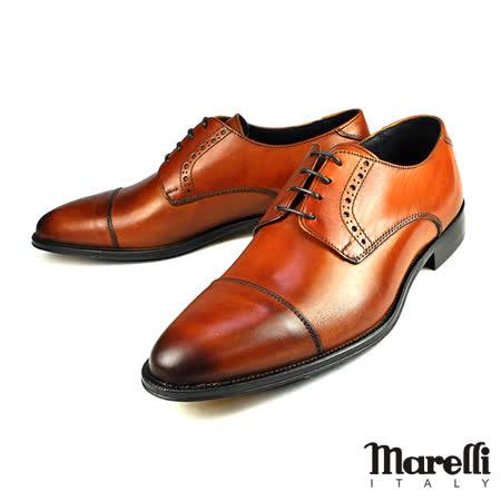 【Marelli】頂級橫飾雕花皮鞋 咖啡(M1861-BR)