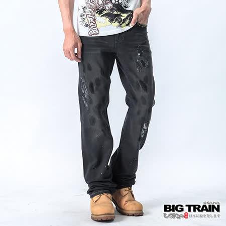 【BIG TRAIN】黑潮噴漆直桶褲(黑色)