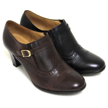 【GREEN PHOENIX】雷射雕花刷舊金屬皮扣全真皮粗高跟牛津踝靴
