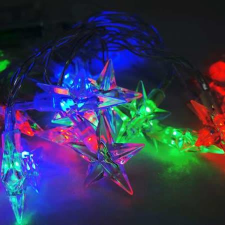 聖誕燈 LED20燈透明星星電池燈 (彩光) (高亮度又環保)