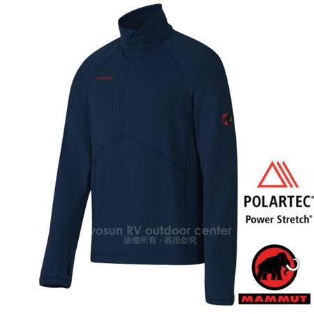 【瑞士 MAMMUT 長毛象】Aconcagua Pull 專業級 男超強抗磨快乾彈性保暖上衣(Polartec Power Stretch)中層透氣刷毛衣/ 01260-5118 海洋藍