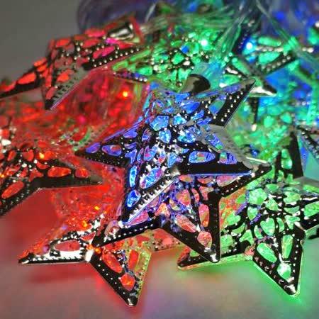 聖誕燈 LED20燈彩光金屬星星電池燈 (高亮度又環保)