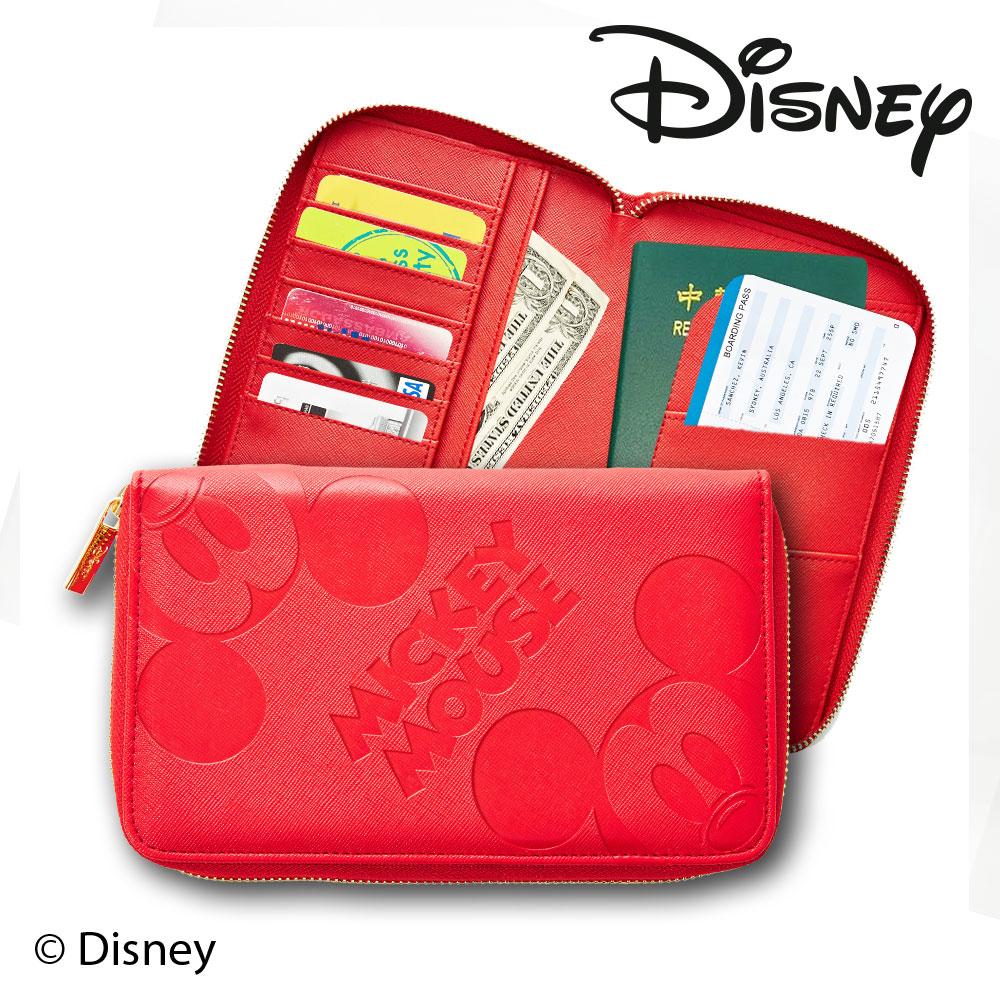 Diseny 迪士尼高 十字皮革紋旅行護照包 紅色