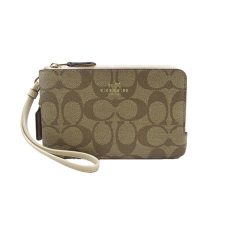 COACH送原廠提袋- 經典LOGO雙拉鍊L型手拿包(咖啡米)