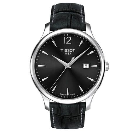TISSOT 天梭 Tradition 經典大三針皮帶石英腕錶/42mm/T0636101608700