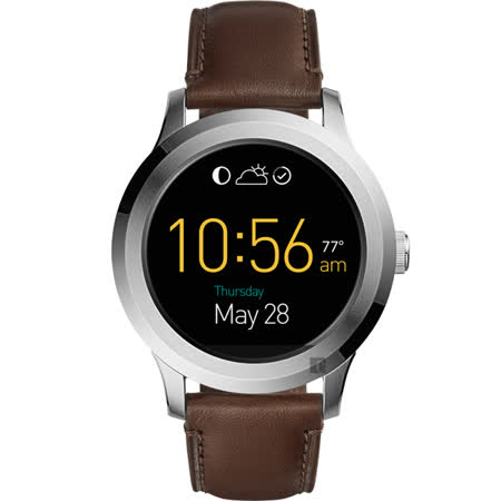 FOSSIL Q Funder 系列觸控智慧型腕錶-黑x咖啡色/45mm FTW2119