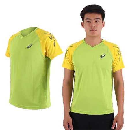 (男) ASICS 排羽球短袖T恤-訓練 排球 羽球 亞瑟士 綠黃
