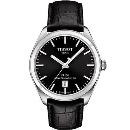 TISSOT 天梭 PR100 Powermatic 80 簡約時尚機械腕錶-黑/39mm/T1014071605100