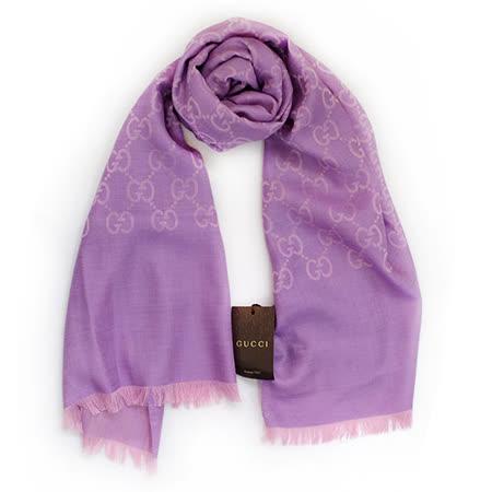 GUCCI 經典LOGO羊毛混紡薄圍巾(紫)