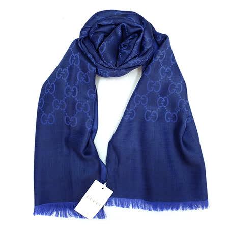 GUCCI 經典LOGO羊毛混紡薄圍巾(寶藍)