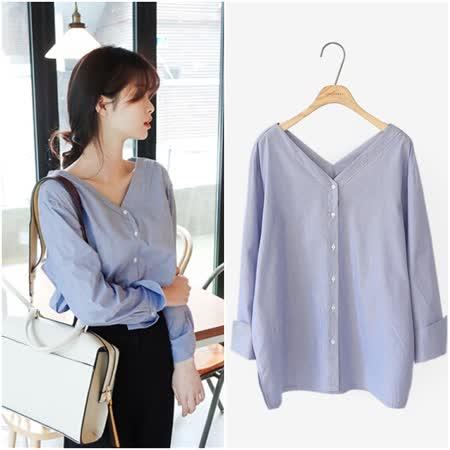 【韓系女衫】修身氣質單排釦大V領條紋襯衫