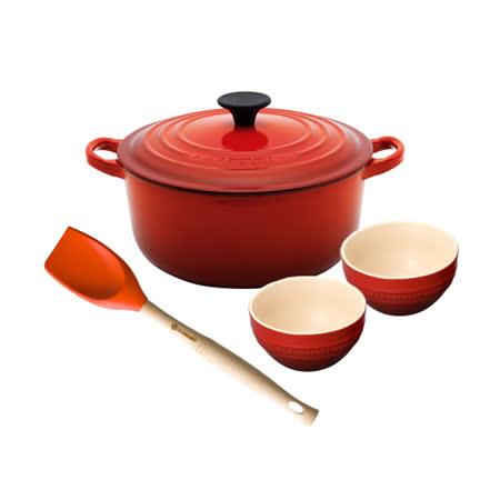LE CREUSET 琺瑯鑄鐵圓鍋 22cm (櫻桃紅)+瓷器韓式飯碗(櫻桃紅)x2+V鏟杓(火焰橘)