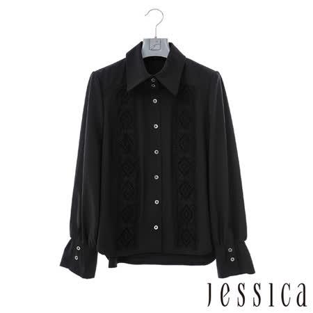 JESSICA-歐美時尚菱格紋蕾絲襯衫-黑