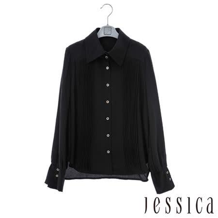 JESSICA-歐美氣質直條紋蕾絲襯衫-黑