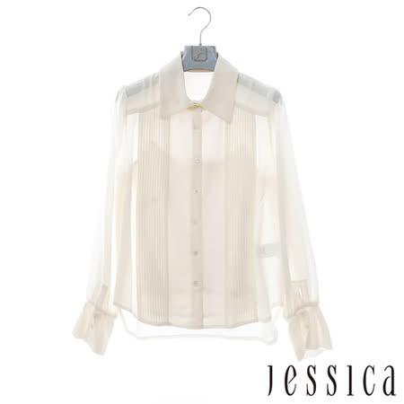 JESSICA-歐美氣質直條紋蕾絲襯衫-白