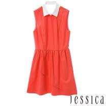 JESSICA RED-甜美氣質抓皺修身洋裝
